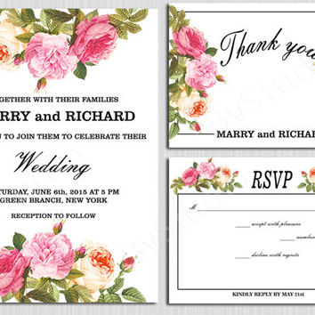 Wedding Invitation Flowers Invite Antique Roses Bridal Shower Printable Unique DIY Elegant DIY Modern Invitation RSVP Thank You Card