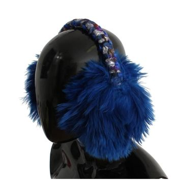 Dolce & Gabbana Blue Shearling Alpaga Wool Ear Muffs