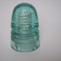 Vintage Brookfield Insulator | Light Aqua Green Beehive Style Glass Insulator | Collectible Telephone Telegraph Wire Insulator | SKEB CD 145