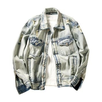 ca spbest Vintage Ripped Men's Denim Jacket