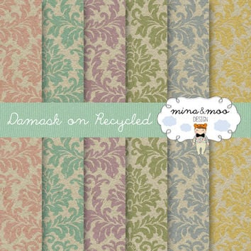 Damask on recycled paper background, Damask digital papers