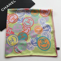 NEW AUTHENTIC CHANEL SMILEY LOGO MULTICOLOR PRINT LIGHT GREEN 100% SILK SCARF