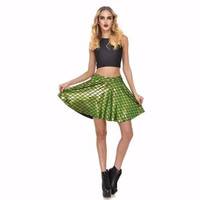 Lime Green Mermaid Print Skater Skirt