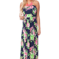 Navy Brightly Printed Floral Strapless Maxi