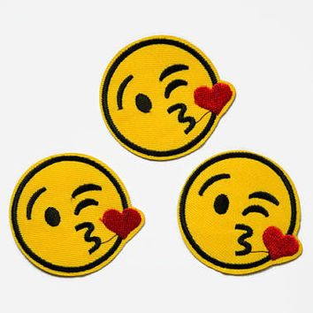 Patches - Emoji Kiss Iron On Patch - Embroidery Applique Kiss Patch - Smiley Patch Kiss - Fun Patches - Cute Patches - Emoticon Patches
