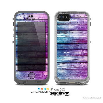 The Pink & Blue Dyed Wood Skin for the Apple iPhone 5c LifeProof Case