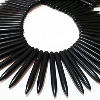 Black Spikes Daggers  Needles Magnesite Gemstone Turquoise Beads, Ethnic, Tribal, Fang shape