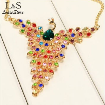 New fashionable MultiColor Peacock Design Necklace with Colorful Rhinestone Plumes