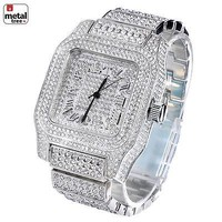 Jewelry Kay style Men's Fashion Stainless Steel Back Iced Out Heavy Metal Band Watches WM 7967 S
