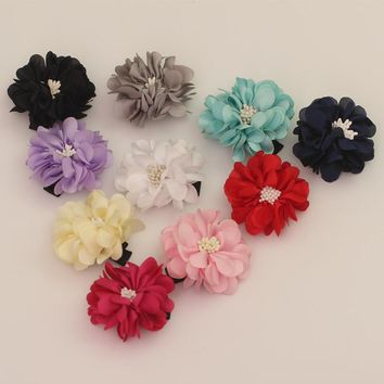 2 inch solid kids hair flower clip accessories bows clips headdress girls hairpin barrettes hairclip ornaments bow hair grips