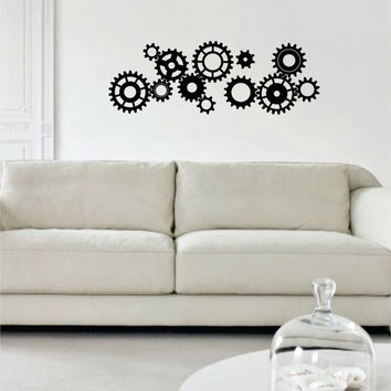 Gears Version 1 Machine Steampunk Design Decal Sticker Wall Vinyl Decor Art