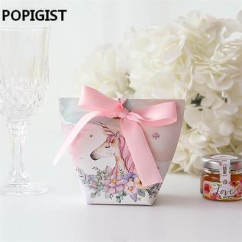 50pcs Creative Wedding Favors Rabbit Deer Couple Flamingo Unicorn Candy Boxes Bomboniera Party Gift Box sugar chocolate package