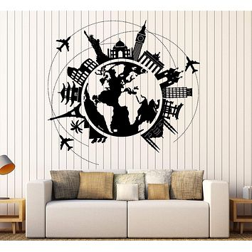 Wall Vinyl Decal Atlas World Map Travel Trip Vacation Famous Places Home Decor Unique Gift z4413
