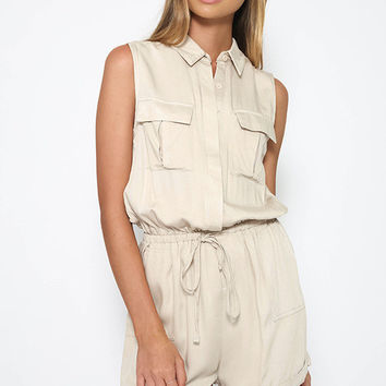 Sleeveless Four Pockets Drawstring Waist Rompers