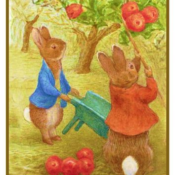 Peter Ben Rabbit Pick Apples inspired by Beatrix Potter Counted Cross Stitch Pattern