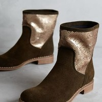 Pasquale Trotta Shimmered Suede Moto Boots in Olive Size: