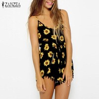 ZANZEA 2017 Sexy Women Straps Sunflower Rompers