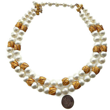 Coro Pearl Necklace with Gold Beads Multi Strand Signed