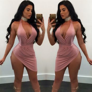 Fashion Halter Sleeveless Deep V Backless Split Mini Dress
