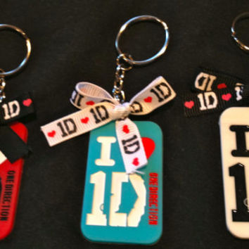 I Love 1D One Direction Soccer/Cheer/Dance Bow Ribbon Keychain (Niall, Louis, Harry)