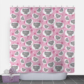 Pink Elephant Shower Curtain - Adorable Elephant Pattern over Pink - 71x74 - PVC liner optional - Made to Order