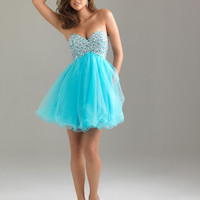 Sweetheart Empire Sequin Bodice Short Prom Gown Night Moves By Allure 6487