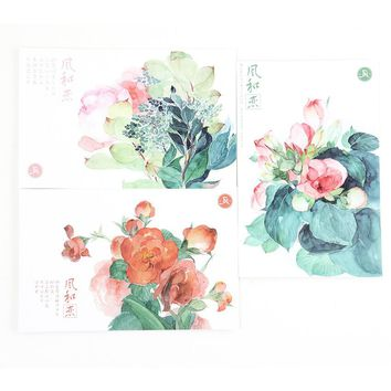 Colorful Watercolor Fashion Floral Postcard DIY Bookmark 30 Sheets 14.3*9.3cm Lovely Paper Card Message Card Gift Free Shipping