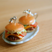 Burger Earrings Cheeseburger Earrings with Lettuce and Tomato Food Jewelry - Food Earrings
