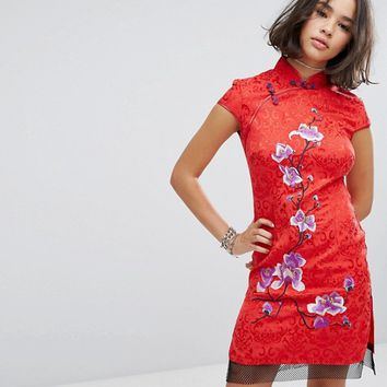 Reclaimed Vintage Inspired High Neck Dress In Brocade With Floral Embroidery at asos.com
