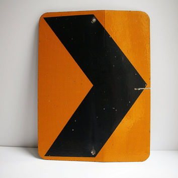 Vintage Industrial Arrow Sign / Metal Caution Sign / Turn Sign / Transportation / Home Decor / Vintage Signage