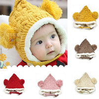 Winter Babys Infant Unisex Multicolored Warm Knitted Hat Two Balls Cap = 1958072452