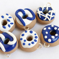 CHRISTMAS SALE 6 Donut Charms, Handmade Charms, Polymer Clay Donut Charms, Blue