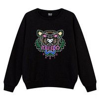 KENZO Trending Unisex Casual Embroidering Print Cotton Long Sleeve Sweater Top