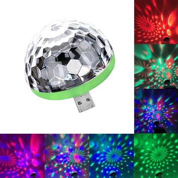 Mini USB led Party Lights Portable Crystal Magic Ball Home Party Karaoke Decorations Colorful Stage LED Disco Light 2 Plugs