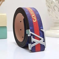 LV Louis Vuitton New Popular Multicolor Woman Men Smooth Buckle Belt Print Leather Belt Red/Blue Stripe I-WMXB-PFSH