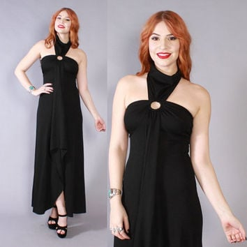 Vintage 70s Maxi DRESS / 1970s Glam Draped Black Cut-Out Halter Long Dress XS