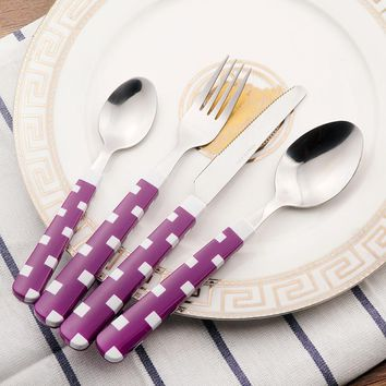 Kids Plastic Cutlery Set Stainless Steel Dinnerware Knife Fork 24 Pieces Children Tableware With Frame Camping Dinner Set