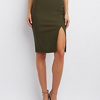 FRONT SLIT BODYCON SKIRT