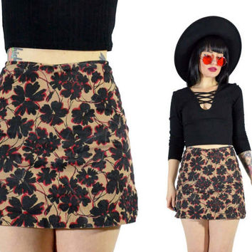 vintage 90s floral SKORT high waisted bodycon 1990s mini skirt shorts soft grunge XS