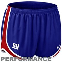 Nike New York Giants Women's Tempo Performance Running Shorts - Royal Blue