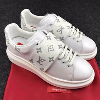 Best Online Sale Supreme x LOUlS VUlTTON LV Fashion Stellar Sneaker Boot White Luxury High top Sneaker Shoes - 02