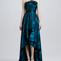 Strapless Ruffled Jacquard High-Low Gown