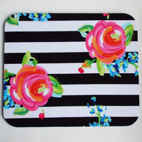 black white stripes roses floral Mouse Pad mousepad / Mat - Rectangle or round