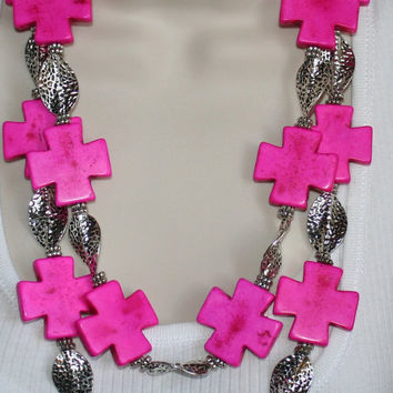 Bold Hot Pink Turquoise Cross Statement Necklace, Chunky Greek Cross Necklace, Big Fuchsia Cross Statement Earrings, Tibetan Silver Necklace