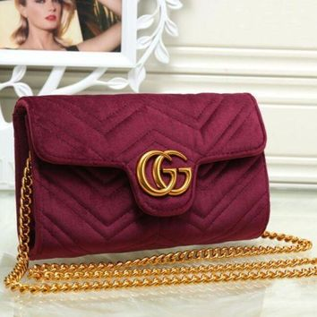 DCCKJH2 Gucci Marmont Women Shopping Leather Metal Chain Crossbody Satchel Shoulder Bag G