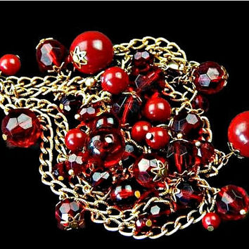 Red Cha Cha Dangle Bead Necklace Long Chain 38 Inches