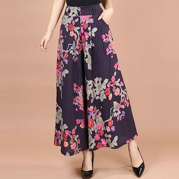 Summer Women Printed Flower Pattern Wide Leg Loose Cotton Dress Pants Female Casual Skirt Trousers Capris Culottes