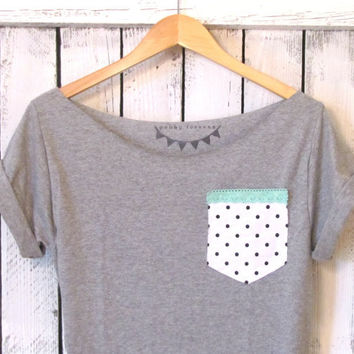 FREE SHIPPING Retro Polka Dot & Seafoam Lace Off by pebbyforevee