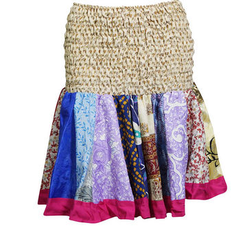 High Waisted Skater Skirt Recycled Sari Ruched Waist Flirty Skirts
