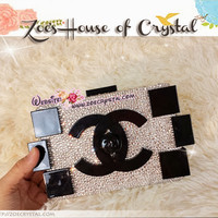 Superb Bling and Sparkly Strass Chanel Lego Inspired Clutch / Purse Partially Covered with Clear white Swarovski / Czech Crystals - ZoeCrystal